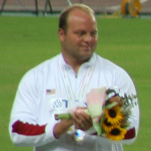 Adam Nelson received his gold in 2013